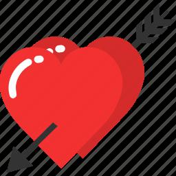 arrow, cupid, heart, love, romantic, valentine, wedding icon