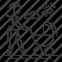 baby carriage, female, mother, motherhood icon
