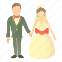 bridal, bride, cartoon, groom, man, wedding, wife icon
