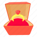 box, cartoon, celebration, gift, precious, ring, stone icon