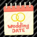 calendar, cartoon, date, day, emblem, love, wedding date icon