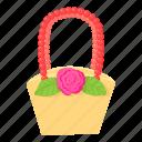 basket, bride, cartoon, gift, groom, love, wedding icon