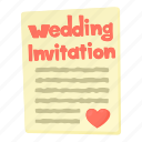 cartoon, email, envelope, heart, invitation, love, paper icon
