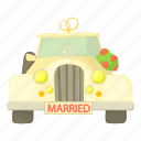 car, cartoon, celebration, decoration, love, wedding car icon
