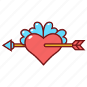 arrow, heart, love, wedding icon