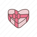 box, gift, heart, love, present, romance, valentine icon