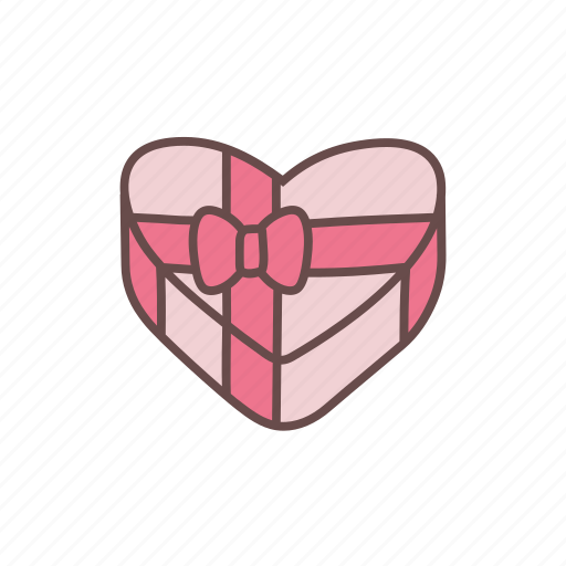 box, gift, heart, love, present, romance, valentine icon
