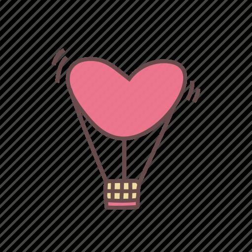 air, balloon, heart, hot, love icon