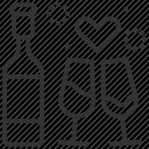 beverage, drink, heart, love, water, wedding icon