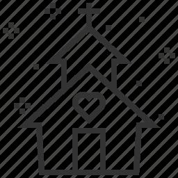 church, heart, love, wedding icon