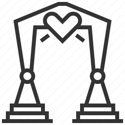 arch, heart, love, wedding icon