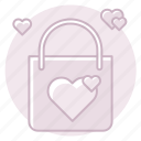 bag, gift, gift bag, heart, marriage, shoping, wedding icon