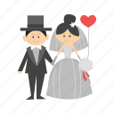 bride, couple, dress, groom, happy, wedding, woman icon