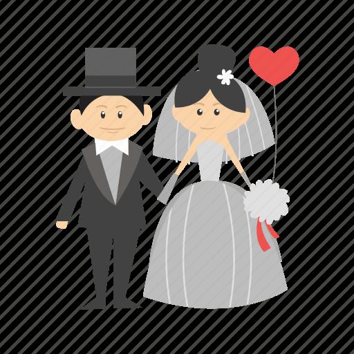 bride, couple, dress, groom, happy, wedding, woman icon