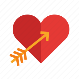arrow, day, heart, love, red, valentines, watercolor icon