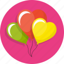 balloons, birthday, cute, heart, love, wedding icon