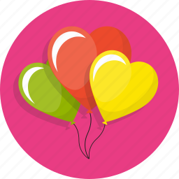 balloons, birthday, cute, heart, love, wedding icon