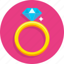 diamond, happy, heart, love, ring, romantic, wedding icon