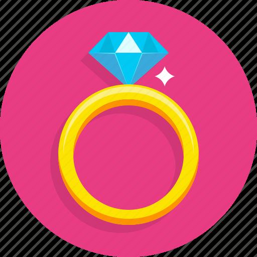 diamond, happy, heart, love, ring, romantic, wedding icon