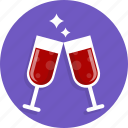 happy, heart, love, romantic, wedding, wine icon