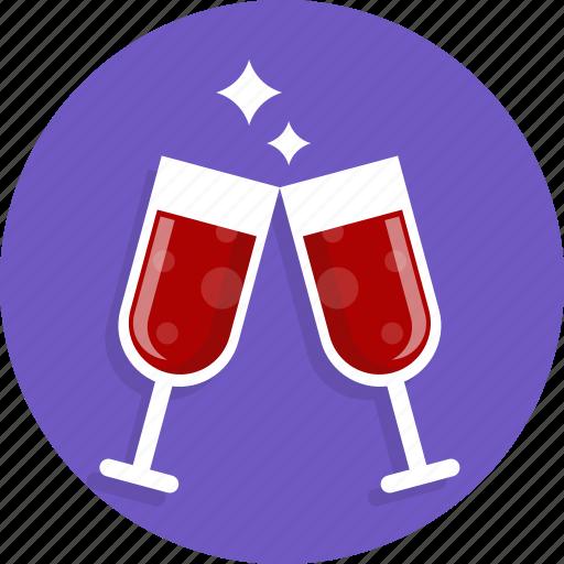 happy, heart, love, romantic, wedding, wine icon