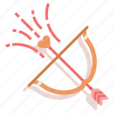 arrow, bow, cupid, love, valentine, wedding icon
