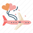 airplane, flight, holiday, honeymoon, love, vacation icon