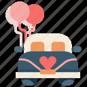 car, celebration, ceremony, honeymoon, marriage, married, wedding icon