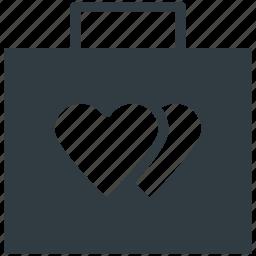 luggage, suitcase, tour, travel, two hearts icon