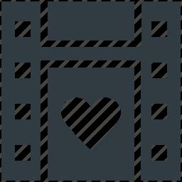 camera, camera reel, film reel, heart sign, image reel, movie reel icon