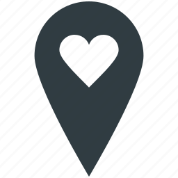 dating concept, favorite location, heart, map pin, romance, sentiments, valentine day icon