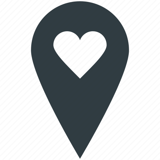 Dating concept, favorite location, heart, map pin, romance, sentiments, valentine day icon - Download on Iconfinder