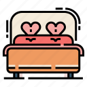 bed, double bed, furniture, love, married, wedding icon