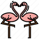 couple, engagement, flamingo, heart, love, wedding icon