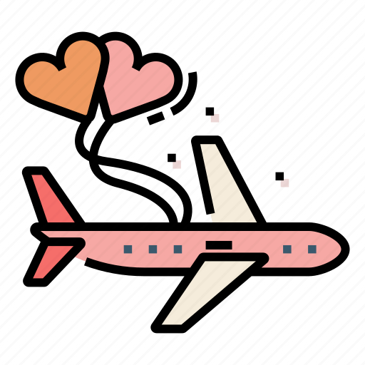 Airplane, couple, flight, honeymoon, travel, vacation icon