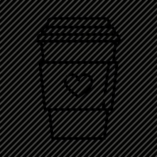 cappuccino, coffee, drink, latte, love, romance, valentine's day icon