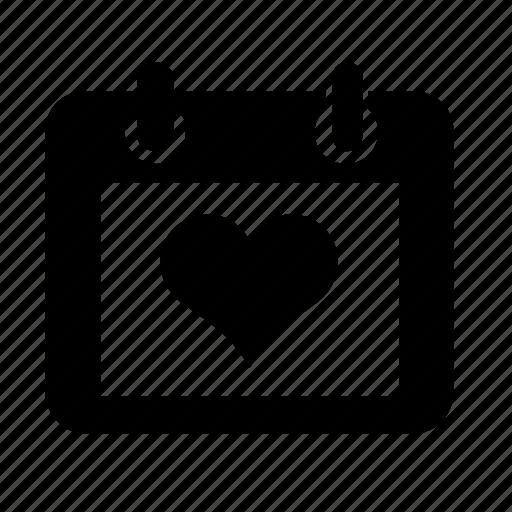 calendar, heart, love, wedding icon