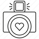 camera, gadget, heart, lens icon