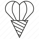 cone, gift, heart, valentine icon
