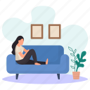 young woman, lying, couch, sitting, wall pictures, flower pots, resting icon