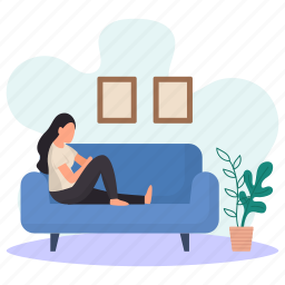 young woman, lying, couch, sitting, wall pictures, flower pots, resting