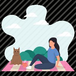 young woman, cat, pet, picnic, greenery, sitting, floor