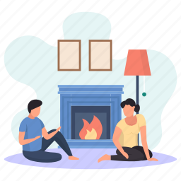 husband, wife, sitting, floor, discussing, fireplace, lamp