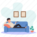 young man, lying, sofa, couch, watching tv, picture frames, flower pots icon