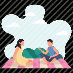 young man, woman, enjoying, picnic, talking, weekend activity, sitting