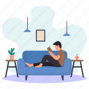 young man, lying, sitting, sofa, couch, reading book, hanging lamp icon