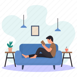 young man, lying, sitting, sofa, couch, reading book, hanging lamp
