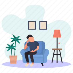 young man, getting bored, sitting, sofa, couch, lamp, flower pot
