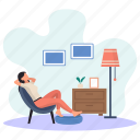 young woman, resting, weekend, seat, lamp side, picture frame, sleeping icon