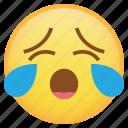 cry, emoji, emoticon, sleepy, smiley, tears, weird icon